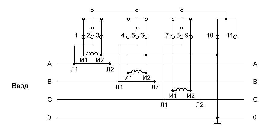 Schema des Anschlusses eines Drehstromzählers über Spannungswandler ...