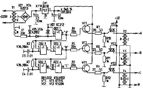 Start des Elektromotors 380v aus dem Netzwerk 220v. Drehstrommotor ...