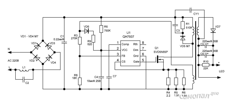 Niederspannungstreiber für eine leistungsstarke LED. Verwendung von ...